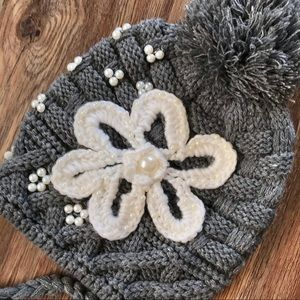 Cable Knit Beanie with Poms, appliqué & pearls